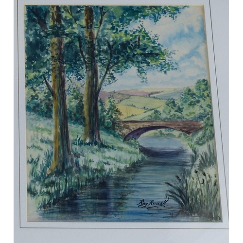 242 - F Cockburn Watercolour Depicting Wooden Bridge, signed in gilt frame (foxing) 25.5cm x 18cm, also Ra...