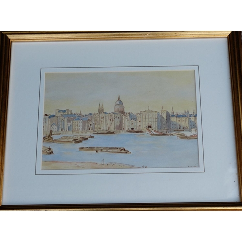 244 - N Frost Watercolour depicting barges on river with city on other bank signed in gilt frame, 19cm x 2...