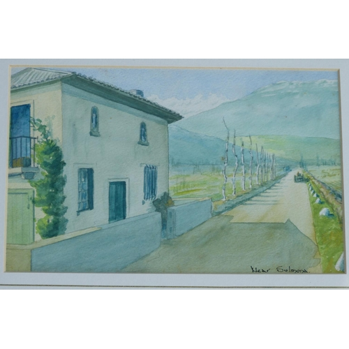 245 - A Continental Watercolour depicting building on roadway