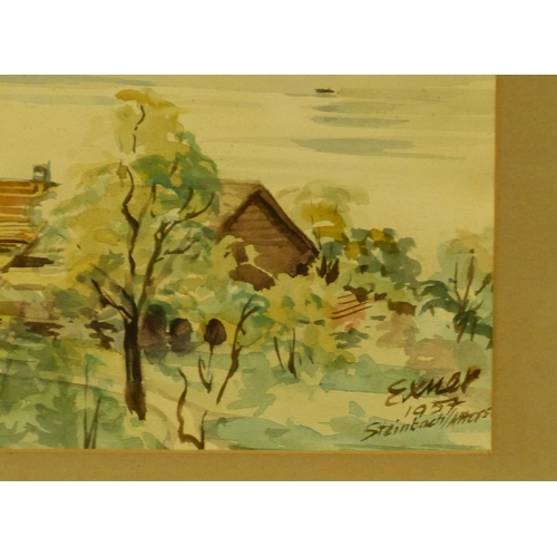 246 - Exmer? Continental Watercolour depicting river landscape with church and buildings in foreground wit...