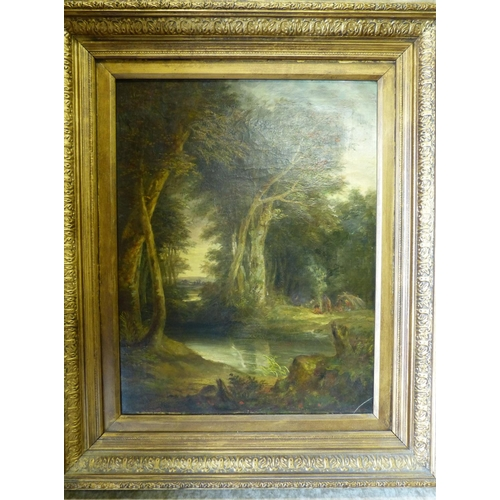 249 - S Potten 19th Century Oil on Canvas depicting figures around campfire on wooded water's edge, in gil...