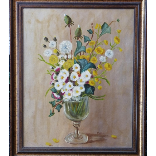 250 - E Weir Oil on Board, Still Life Goblet of Flowers, signed in gilt frame, 49cm x 39cm...