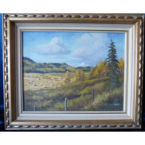 252 - Marion E Barker Canadian Oil on Canvas, open landscape