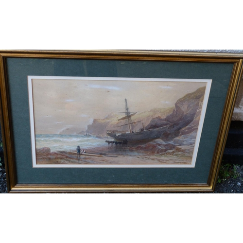 253 - Sydney Ernest Hart Watercolour depicting ship ran aground on shore with figures and horse drawn cart...