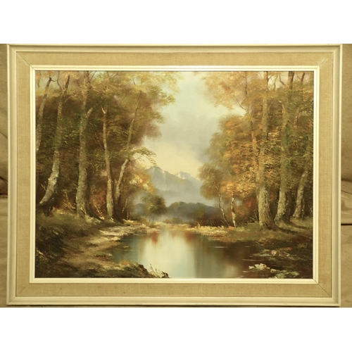 255 - O Schmich Oil on Canvas, wooded river landscape with mountains in background, signed in white painte...