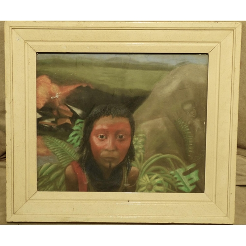 256 - An Ethnic Pastel depicting figurehead of a child, unsigned in white painted frame, 50cm x 60cm...