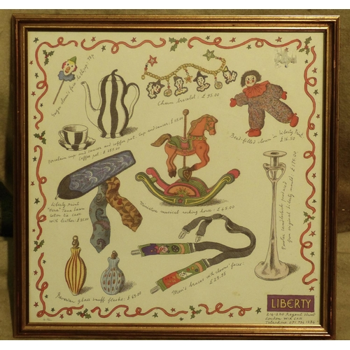 257 - A Liberty Coloured Print depicting a rocking horse etc in gilt frame, 39.5cm x 39.5cm...