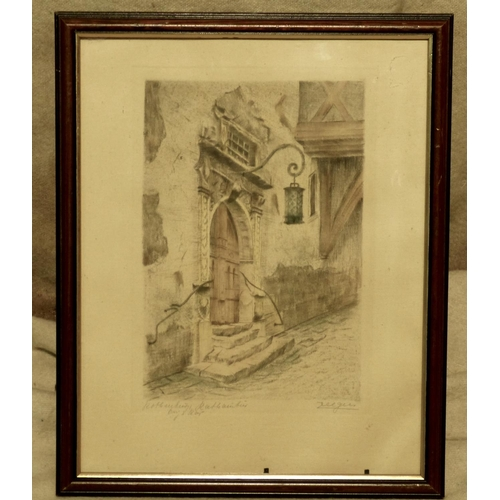 258 - Zeeger Coloured Print depicting doorway, indistinctly signed in mahogany frame, 35.5cm x 27cm...