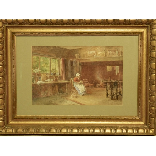 260 - Fred Cook, Rudgwick, Sussex Watercolour depicting elderly seated lady by open fire in kitchen, signe...