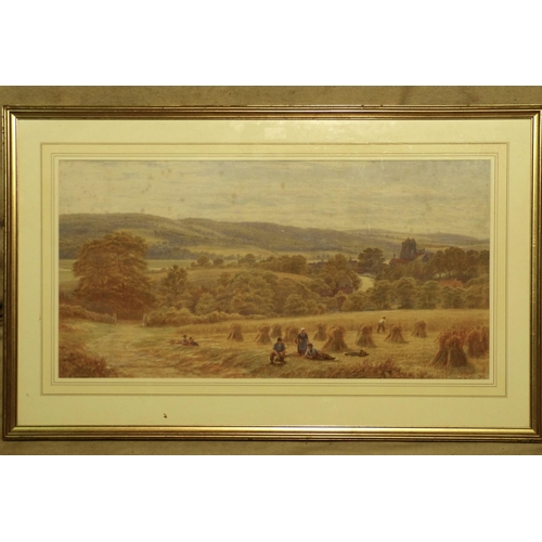 262 - A Watercolour depicting farmers making haystacks in field, indistinctly monogrammed CM? in gilt fram...