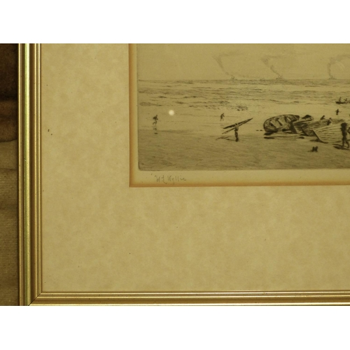 264 - WL Wyllie Signed Black and White Etching depicting figures unloading rowing boats on shore with furt...