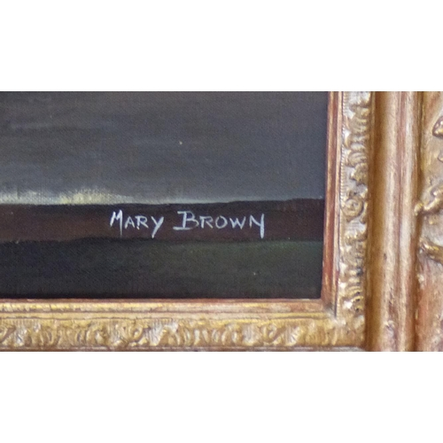 266 - Mary Brown Modern Oil on Canvas, Still Life Vase of Flowers, signed in gilt frame, 49cm x 39cm...