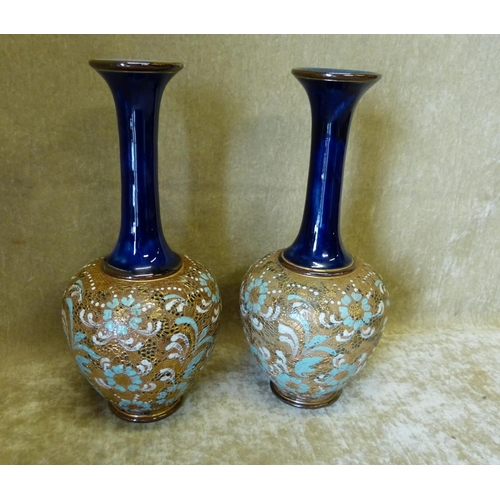 27 - A Pair of Royal Doulton Glazed Stoneware Bulbous Trumpet Shape Vases, on brown and blue ground with ...