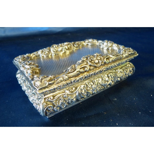 273 - Nathaniel Mills, Early Victorian Silver Rectangular Snuff Box with all over engine turned and raised...