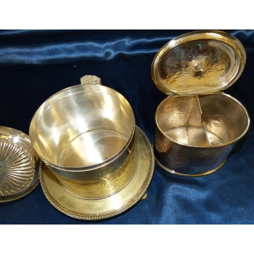 279 - A Sheffield Plated Oval Tea Caddy having engraved, floral and scroll decoration, hinged lid enclosin...