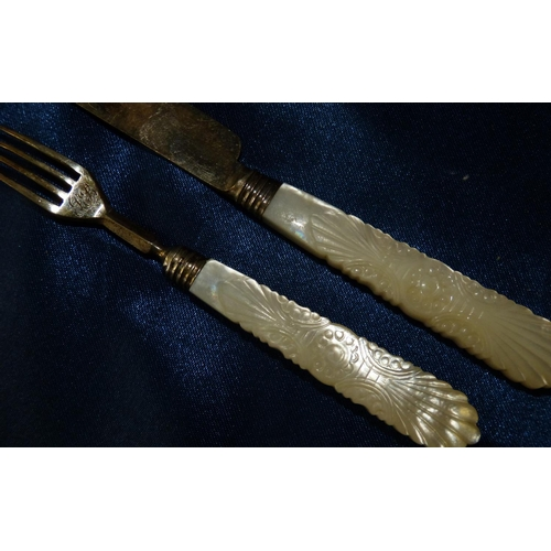 281 - A William IV Silver Child's Knife and Fork having mother of pearl handles with chased decoration, Sh...