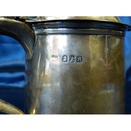 287 - An Early George V Britannia Silver Tankard having hinged lid with scroll handle, London 1913 Maker G...