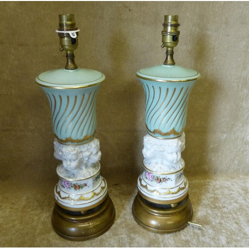 29 - A Pair of Continental China Table Lamps having raised figurehead motif with multicoloured floral, le...