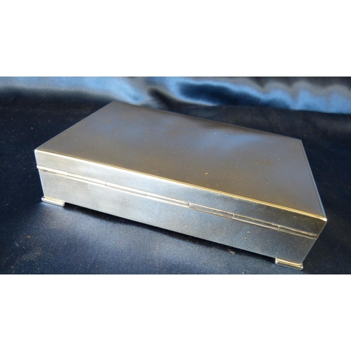 290 - An 835 Silver Coloured Metal with Rectangular Shape Cigarette Box having engine turned hinged lid, 1...