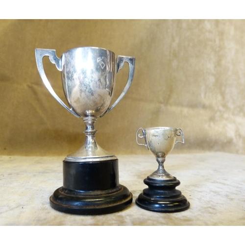 292 - A Miniature Birmingham Silver 2-Handled Trophy also a similar larger Birmingham silver trophy (2)...