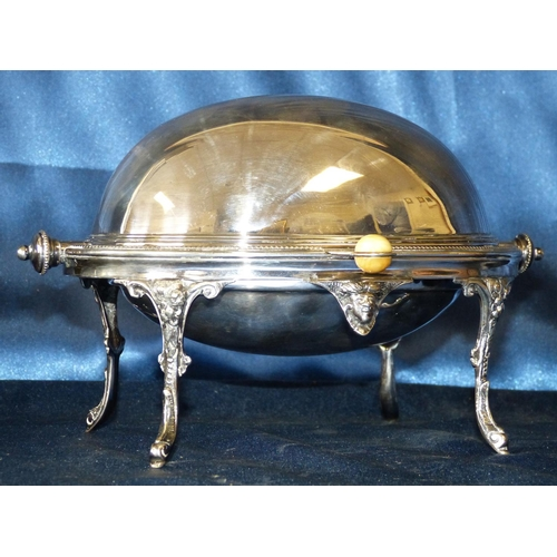 293 - A Silver Plated Egg Shape Butter Dish having swing overhead cover, ball rim on 4 splayed legs, enclo...