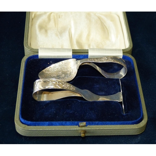 296 - A Birmingham Silver Child's Spoon and matching pusher depicting nursery rhyme to bowl, in fitted cas...
