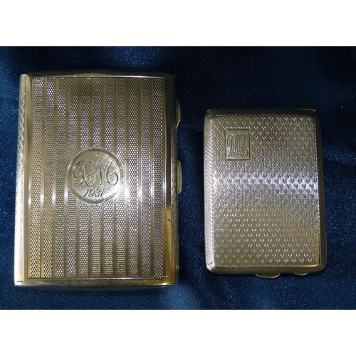 300 - A Birmingham Silver Cigarette Case having engine turned decoration, also a Birmingham silver matchbo...