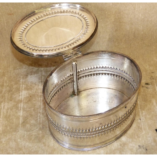 307 - A Silver Plated Oval Tea Caddy having hinged lid (interior divider missing)...