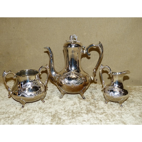 311 - A 3-Piece Silver Plated Bulbous Shape Tea Service having embossed and engraved decoration on splayed...