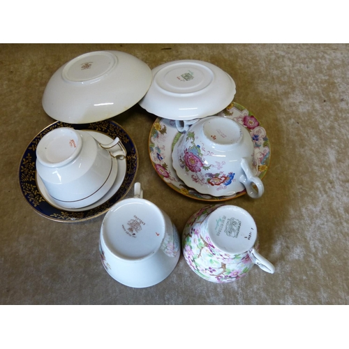 32 - A Foley Victorian Coronation Moustache Cup and Saucer, also a Shelley cup and saucer having multicol...