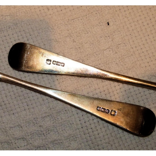 320 - A Pair of Sheffield Silver Rat Tails Spoons having chased handles, 3.4oz...
