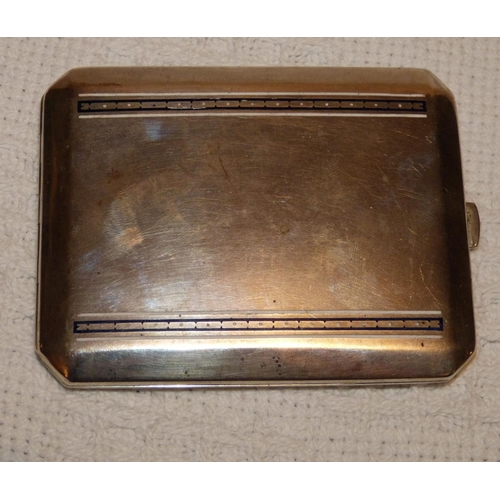 332 - A Continental Silver Coloured Metal Cigarette Case having blue and white enamelled stripped decorati...