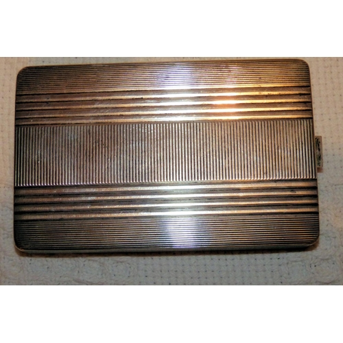 333 - A Continental Silver Coloured Metal Cigarette Case having engine turned decoration, 6.4oz...
