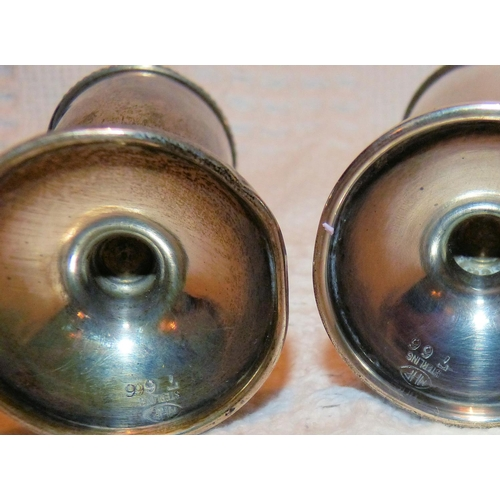 339 - A Pair of Sterling Silver Bulbous Large Salt & Peppers Pots on sweeping bases, 15cm high (1 base den...