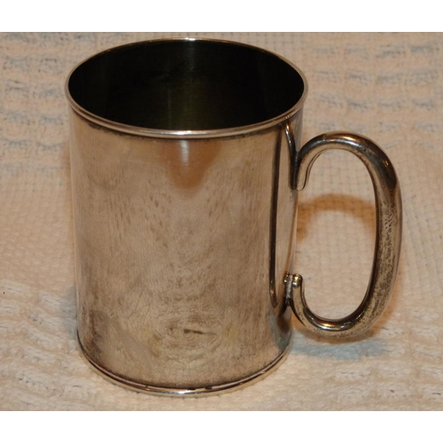 341 - A George V Plain Silver Christening Mug having engraved monogram, Birmingham 1918 makers mark C&N, 3...