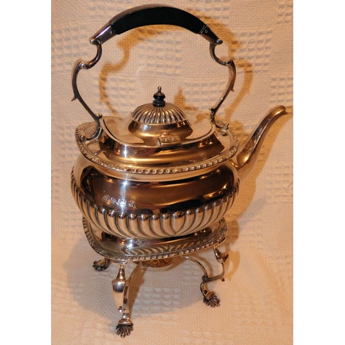 346 - An Edward VII Silver Rectangular Shape Kettle with stand and Burner having half embossed reeded deco...