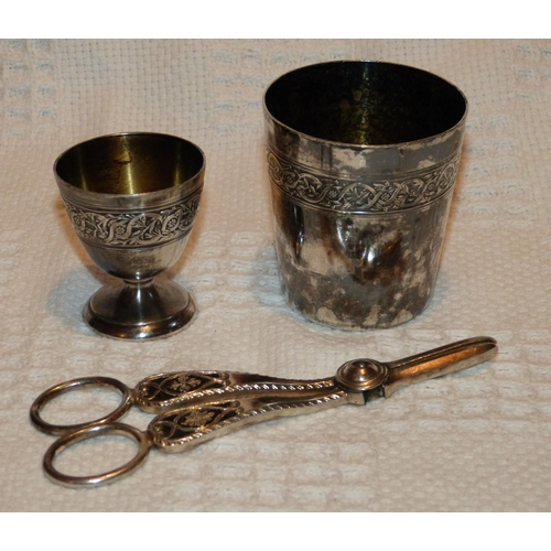 347 - A Christofle Beaker, a similar egg cup and pair of plated grape scissors (3)...