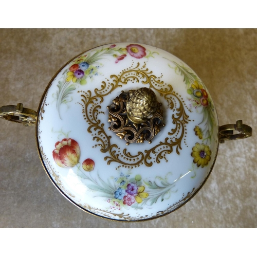35 - A Continental Meissen Style Porcelain and Gilt Metal Bulbous 2-Handled Lidded Bowl on splayed feet h...