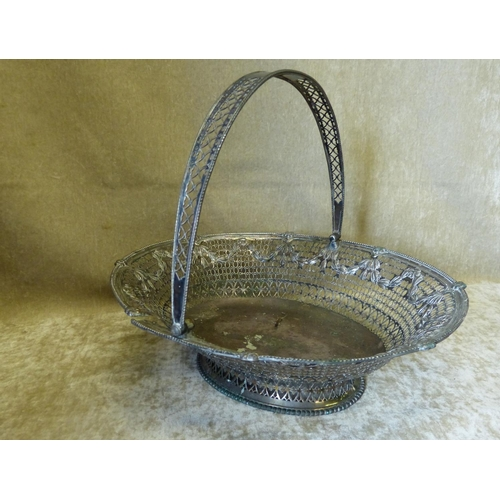 351 - A Georgian Silver Plated Oval Cake Basket having swing overhead handle with all over pierced and emb...