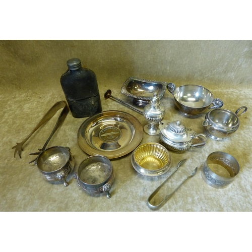 352 - A Pair of Silver Plated Salts having Egyptian splayed legs, a plated milk jug and sugar bowl, a plat...