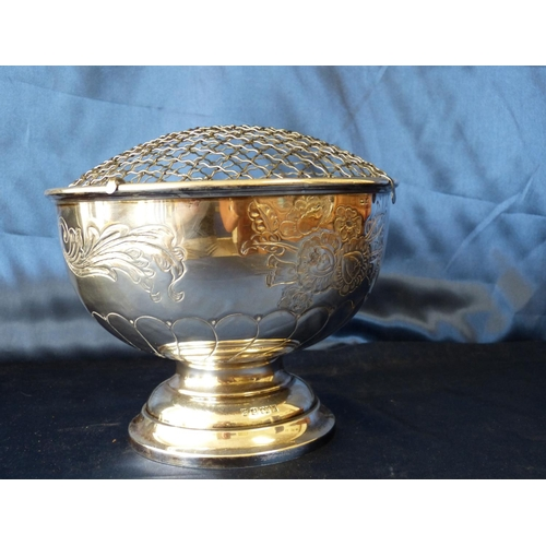 372 - A Modern Silver Rose Bowl with mesh top, embossed floral, leaf and scroll decoration on sweeping bas...