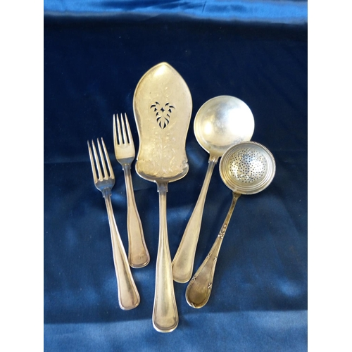 374 - A Dutch Silver Coloured Metal Fish Slice a matching ladle a similar tea strainer and 2 similar forks...