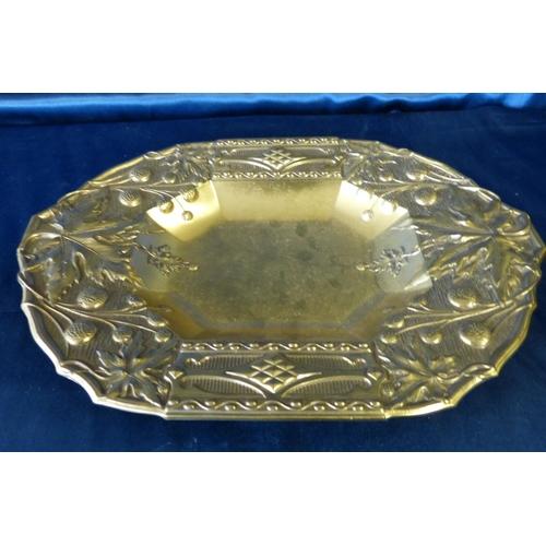 379 - A Gilt Metal Rectangular Shape Bowl having embossed fruit and leaf decoration, 34.5cm wide...