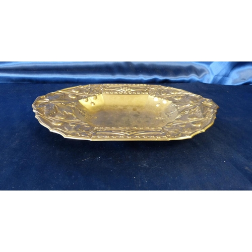 379 - A Gilt Metal Rectangular Shape Bowl having embossed fruit and leaf decoration, 34.5cm wide...