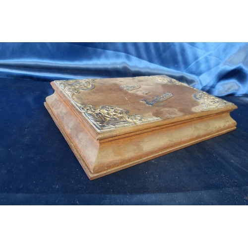 380 - An Oak and Silver Mounted Glove and Handkerchief Box with embossed decoration, hinged lid (1 hinge a...