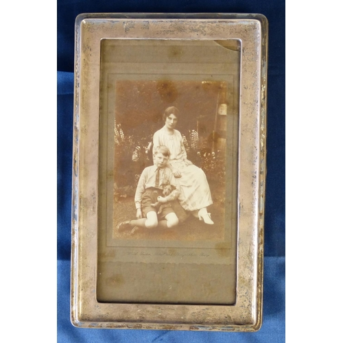 389 - A Birmingham Silver Plain Rectangular Shape Freestanding Photograph Frame, 29.5cm high...