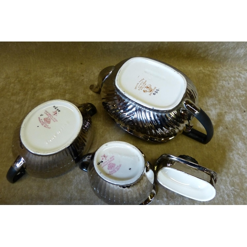 39 - A Crown Devon Fieldings 3-Piece Silverine Service comprising Teapot, milk jug and sugar bow...