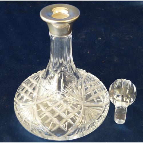 396 - A Small Cut Glass Bulbous Thin Neck Liqueur Decanter with stopper having Birmingham silver neck, 17c...