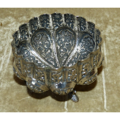 401 - An Eastern Silver Coloured Metal Bulbous Shape Sugar Bowl having crinkled rim with embossed floral, ...