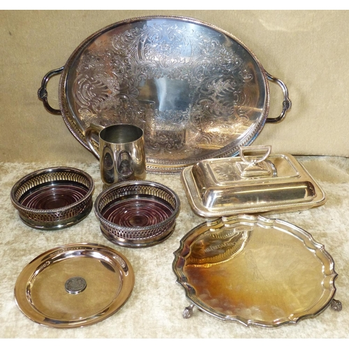 404 - A Pair of Silver Plated Wine Coasters having pierced gallery's, a plated rectangular entrée dish wit...